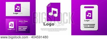 Logotype Music Book With Note Icon Isolated On White Background. Music Sheet With Note Stave. Notebo