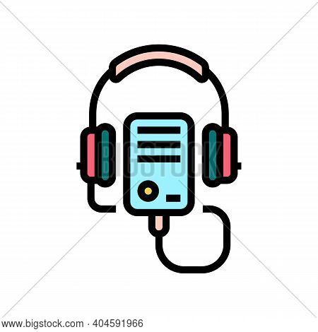 Audio Guid Player Color Icon Vector. Audio Guid Player Sign. Isolated Symbol Illustration