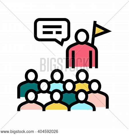 Guid And Visitor Group Color Icon Vector. Guid And Visitor Group Sign. Isolated Symbol Illustration