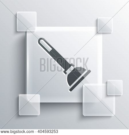 Grey Rubber Plunger With Wooden Handle For Pipe Cleaning Icon Isolated On Grey Background. Toilet Pl