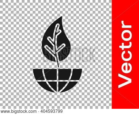 Black Earth Globe And Leaf Icon Isolated On Transparent Background. World Or Earth Sign. Geometric S