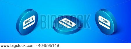 Isometric Hotel Key Card From The Room Icon Isolated On Blue Background. Access Control. Touch Senso