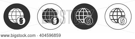 Black International Law Icon Isolated On White Background. Global Law Logo. Legal Justice Verdict Wo