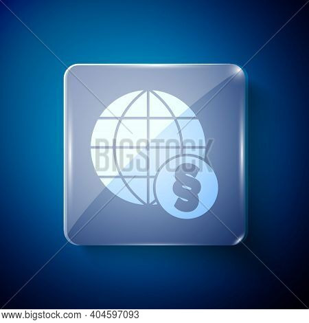 White International Law Icon Isolated On Blue Background. Global Law Logo. Legal Justice Verdict Wor