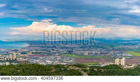 The Haifa metropolitan area Aerial View, Panoramic View, Industrial Zone of Haifa, Israel