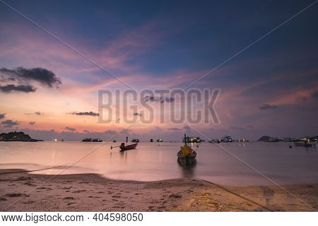 Thailand ocean pier: ships, boats, yachts at sea bay sand shore of asian transportation. Amazing Thai seascape water transport scenery at ocean gulf harbor. Cinematic warm pattern shot