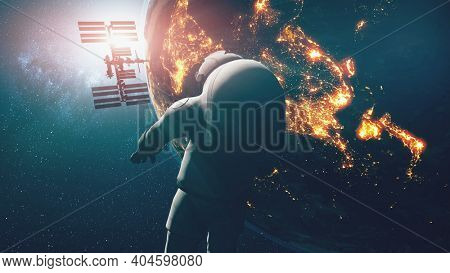 Earth astronaut explorer at city lights. Solar system third planet cosmonaut researcher flight at zero gravity. Cosmos people exploration closeup. spaceman mission of spacecraft at 3D animation