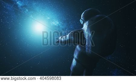 Close-up astronaut in outer space. Cosmos research at far sun light. Solar disk with cosmonaut in modern pressure spacesuit. Spacer exploration mission. Bright Milky Way stars an 3D animation