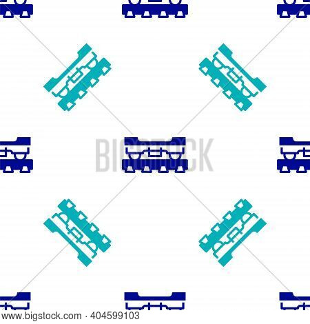 Blue Cargo Train Wagon Icon Isolated Seamless Pattern On White Background. Freight Car. Railroad Tra