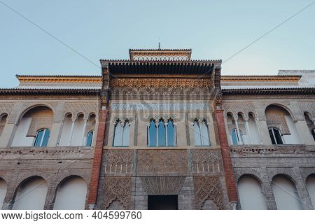 Seville, Spain - January 19, 2020: View Of Mudejar Palace From The Courtyard Of The Monteria In Alca