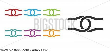 Black Rope Tied In A Knot Icon Isolated On White Background. Set Icons Colorful. Vector