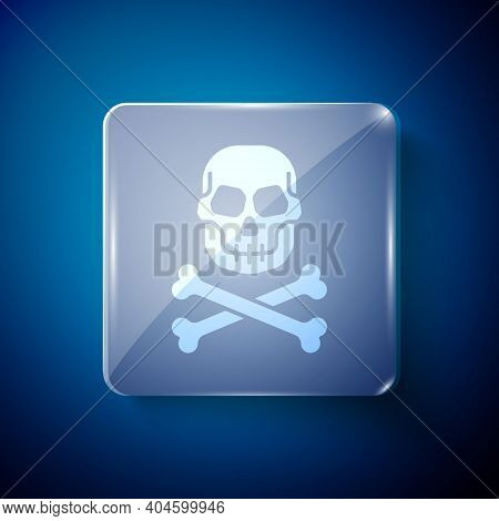 White Skull On Crossbones Icon Isolated On Blue Background. Happy Halloween Party. Square Glass Pane