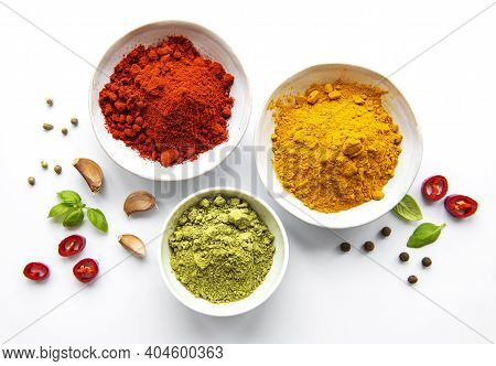 Various Spices Isolated On White Background, Top View