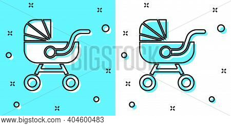 Black Line Baby Stroller Icon Isolated On Green And White Background. Baby Carriage, Buggy, Pram, St