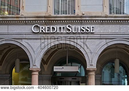 Lugano, Switzerland - 12th January 2021 : Exterior Of Credit Suisse Bank Building On The Piazza Rifo