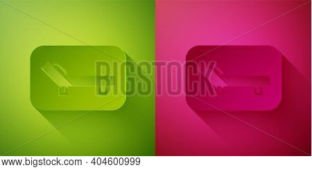 Paper Cut Sunbed Icon Isolated On Green And Pink Background. Sun Lounger. Paper Art Style. Vector