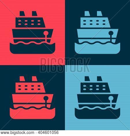 Pop Art Cruise Ship Icon Isolated On Color Background. Travel Tourism Nautical Transport. Voyage Pas