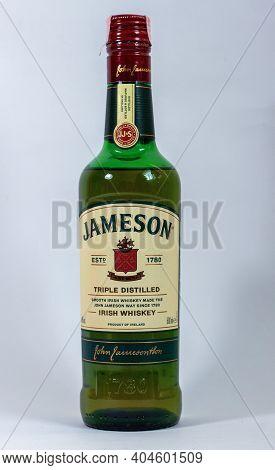 Grodno, Belarus - 01.22.2021: Irish Whiskey Jameson Triple Distilled