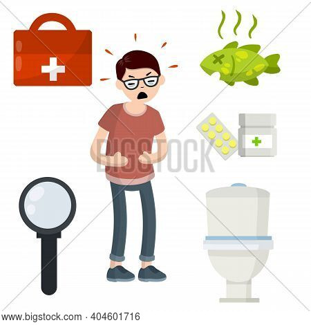 Diarrhea, Upset Stomach. Man Holding Belly. Set Of Indigestion Icons. Health Problem. Toilet Bowl, M
