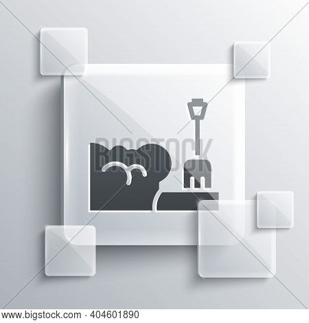 Grey Shovel In Snowdrift Icon Isolated On Grey Background. Square Glass Panels. Vector