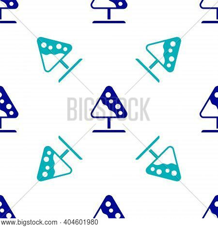 Blue Road Sign Avalanches Icon Isolated Seamless Pattern On White Background. Snowslide Or Snowslip
