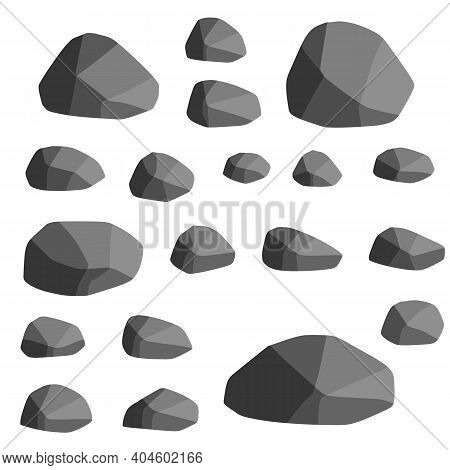 Set Of Gray Granite Stones Of Different Shapes. Element Of Nature, Mountains, Rocks, Caves. Flat Ill