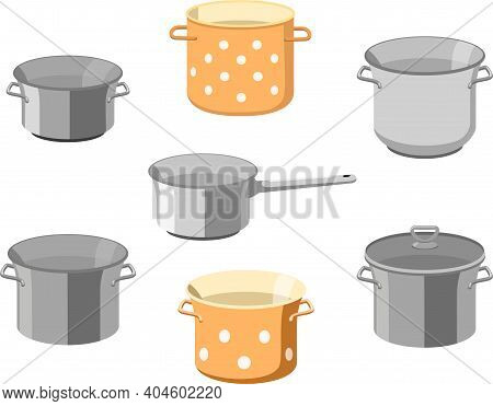 Pans Pots. Kitchen Pan Objects, Cartoon Kitchenware Tools Collection For Cooking, Vector Illustratio
