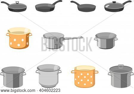 Pans Pots And Pans. Kitchen Pan Objects, Cartoon Kitchenware Tools Collection For Cooking, Vector Il