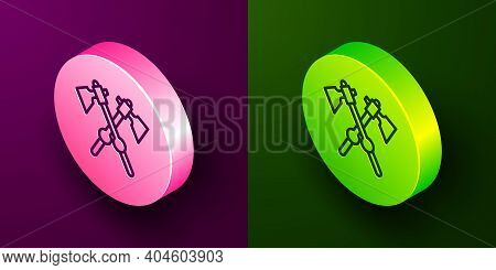 Isometric Line Crossed Medieval Axes Icon Isolated On Purple And Green Background. Battle Axe, Execu