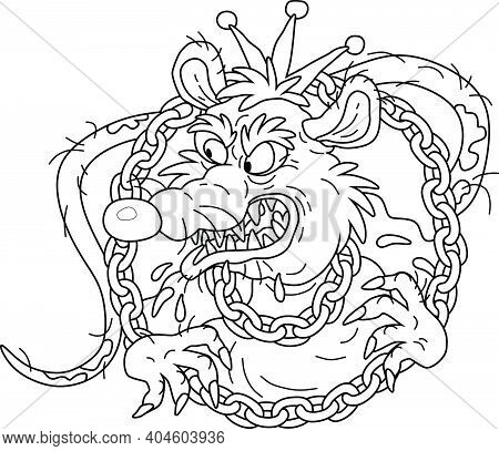 Spiteful And Insidious Old Rat King With A Shabby Tail, Wearing A Gold Crown And A Chain, Grinning O