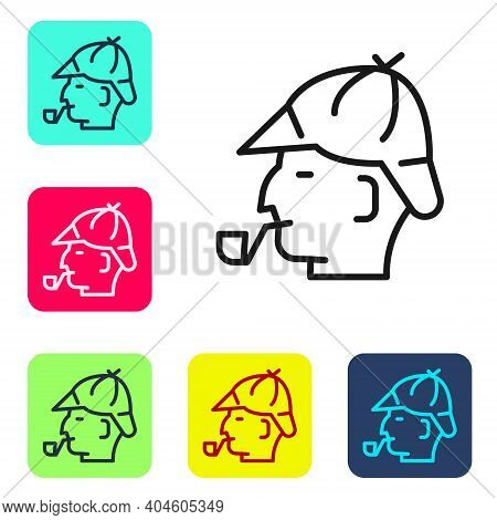 Black Line Sherlock Holmes With Smoking Pipe Icon Isolated On White Background. Detective. Set Icons