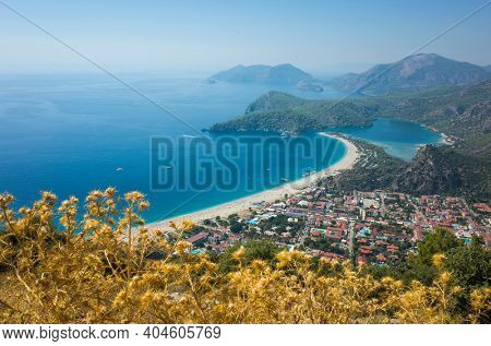 View of Oludeniz beach and Blue Lagoon from Lycian Way hiking trail, Mediterranean coast in Turkey. Dry golden color thistle on foreground, Sunny day