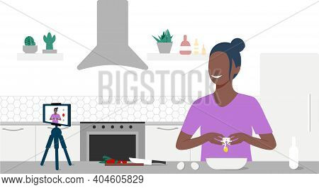 Food Blogger Streaming Live. A Beautiful Black Woman Breaking An Egg And Records An Online Cooking V