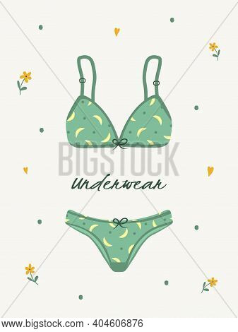 Modern Female Lingerie Or Swimwear Isolated On White Background. Trendy Hand Drawn Underwear Or Biki
