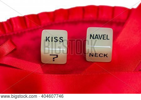 Two Erotic Dice For Sexual Game Couple Relation On Red Satin Background Texture Isolated On White Ba