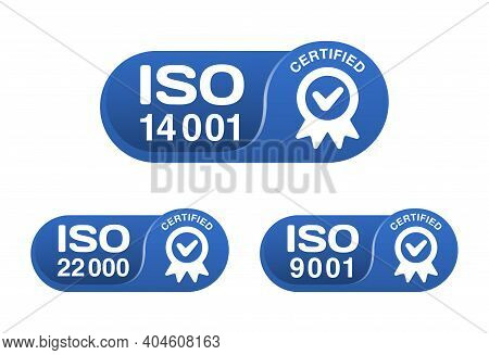 Iso 9001, 14001 And 22000 Certified Horizontal Badges Set - Quality Management System International