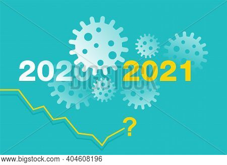 Business Profit Falling Or Rising In 2021 After Covid-19 Pandemic - Isometric Timeline With Abyss Un