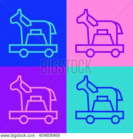 Pop Art Line Trojan Horse Icon Isolated On Color Background. Vector