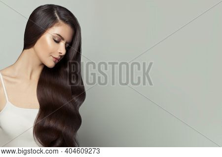 Fashion Portrait Of Nice Model Woman With Long Healthy Hair On White Background, Beautiful Face Prof
