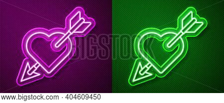 Glowing Neon Line Amour Symbol With Heart And Arrow Icon Isolated On Purple And Green Background. Lo