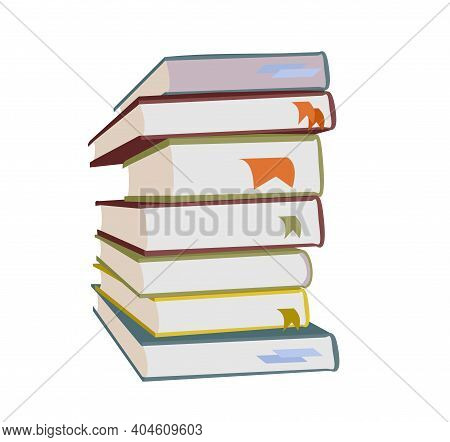 Flat Books With Bookmarks. Back To School And Education. Wisdom Knowledge And Library Vector Illustr