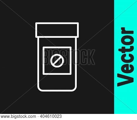 White Line Sports Doping, Anabolic Drugs Icon Isolated On Black Background. Anabolic Steroids Tablet