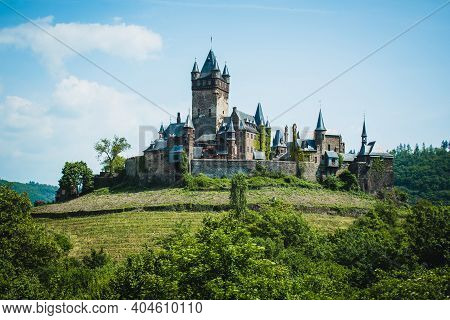 Cochem Imperial Castle Located On A Hill In The Small Picturesque Town Cochem At Moselle River In Rh