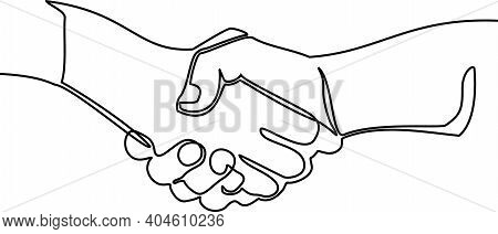 Handshake Continuous Line Vector Drawing. Business Agreement Vector Concept Drawing One Line Of Hand