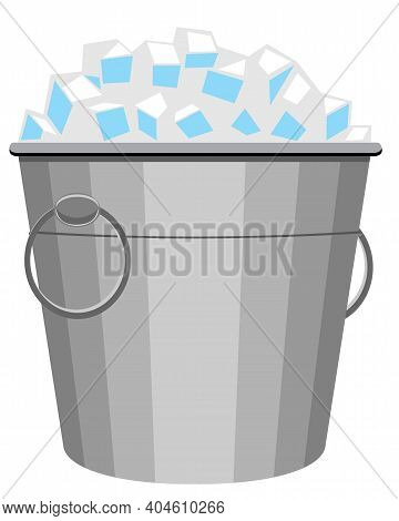 Ice Bucket Icon On White Background. Pail With Ice. Small Metal Bucket With Pile Square Ice Cubes. V