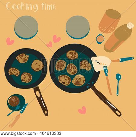 Breakfast Menu With Pancakes. Cooking On Two Pans. Top View Hand Drawn Vector Illustration With Cutl