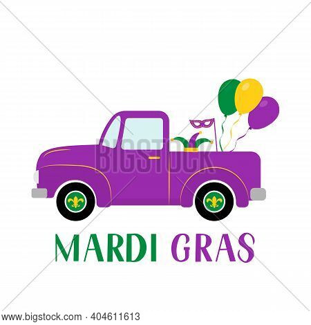 Mardi Gras Truck. Fat Tuesday Traditional Carnival In New Orleans. Vector Element Of Design For Bann
