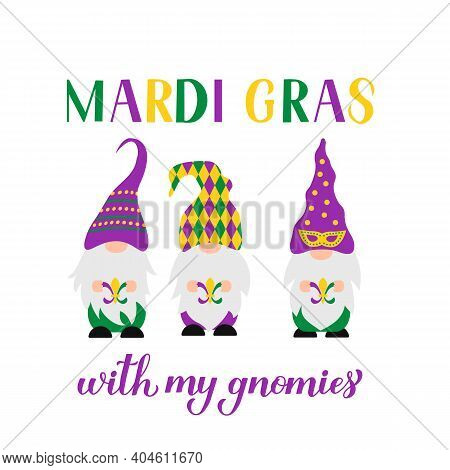 Mardi Gras Hand Lettering With Cute Nordic Gnomes. Fat Tuesday Traditional Carnival In New Orleans.