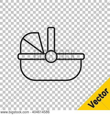 Black Line Baby Stroller Icon Isolated On Transparent Background. Baby Carriage, Buggy, Pram, Stroll