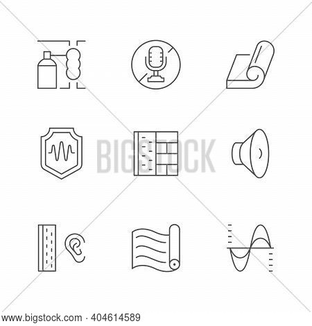 Set Line Icons Of Soundproofing Isolated On White. Noise, Soundproof Material, Sound Insulation, Spe